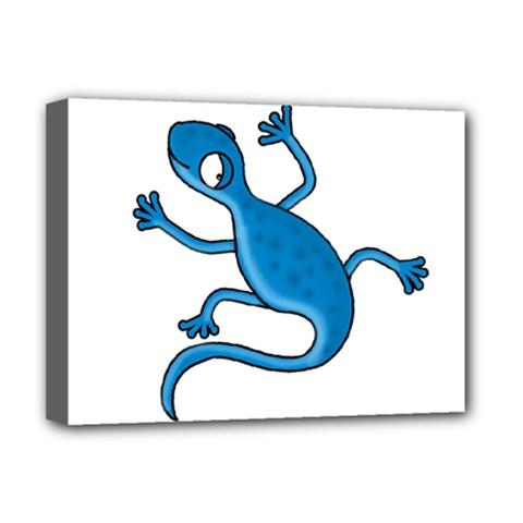Blue Lizard Deluxe Canvas 16  X 12   by Valentinaart