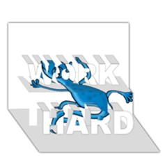 Blue Lizard Work Hard 3d Greeting Card (7x5)