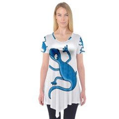 Blue Lizard Short Sleeve Tunic  by Valentinaart