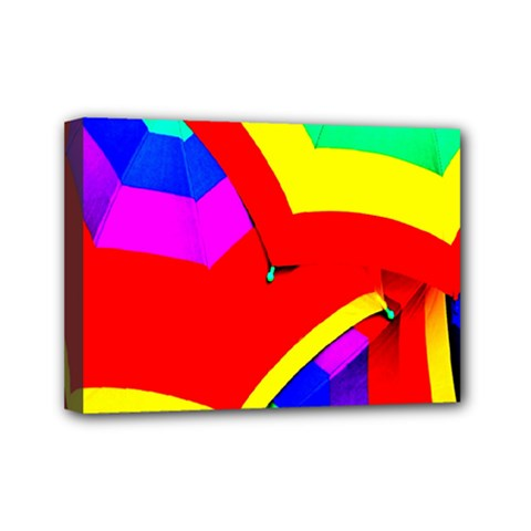 Umbrella Color Red Yellow Green Blue Purple Mini Canvas 7  X 5  by AnjaniArt