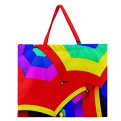 Umbrella Color Red Yellow Green Blue Purple Zipper Large Tote Bag by AnjaniArt