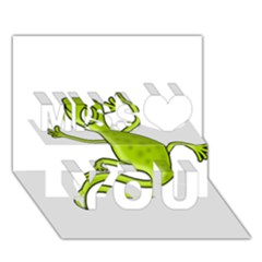 Green lizard Miss You 3D Greeting Card (7x5)