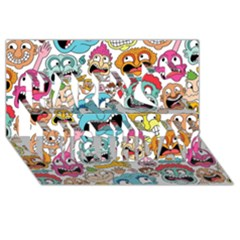 Weird Faces Pattern Happy Birthday 3d Greeting Card (8x4)