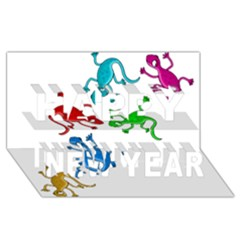 Colorful Lizards Happy New Year 3d Greeting Card (8x4) by Valentinaart