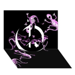 Purple Lizards Peace Sign 3d Greeting Card (7x5) by Valentinaart