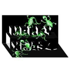 Green Lizards Merry Xmas 3d Greeting Card (8x4) by Valentinaart