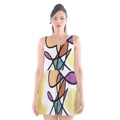 Art Abstract Exhibition Colours Scoop Neck Skater Dress by Zeze