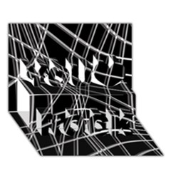 Black And White Warped Lines You Rock 3d Greeting Card (7x5) by Valentinaart