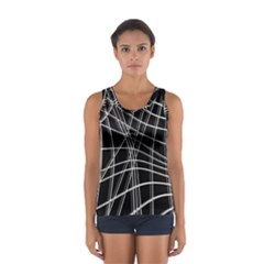 Black And White Warped Lines Women s Sport Tank Top  by Valentinaart