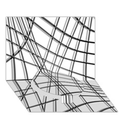 White And Black Warped Lines Circle Bottom 3d Greeting Card (7x5)