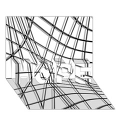 White And Black Warped Lines Hope 3d Greeting Card (7x5) by Valentinaart