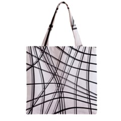 White And Black Warped Lines Zipper Grocery Tote Bag by Valentinaart