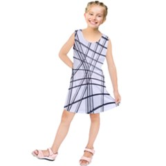 White and black warped lines Kids  Tunic Dress by Valentinaart