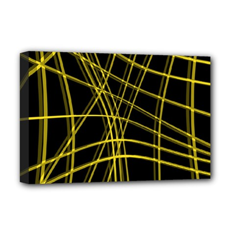 Yellow Abstract Warped Lines Deluxe Canvas 18  X 12   by Valentinaart
