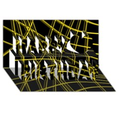 Yellow Abstract Warped Lines Happy Birthday 3d Greeting Card (8x4)