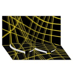Yellow Abstract Warped Lines Twin Heart Bottom 3d Greeting Card (8x4) by Valentinaart