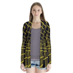 Yellow abstract warped lines Drape Collar Cardigan by Valentinaart