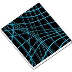 Cyan And Black Warped Lines Small Memo Pads by Valentinaart