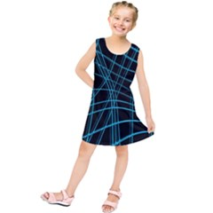 Cyan And Black Warped Lines Kids  Tunic Dress