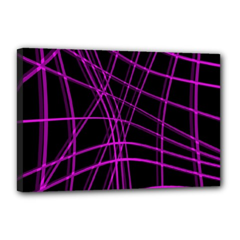 Purple And Black Warped Lines Canvas 18  X 12  by Valentinaart