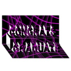Purple And Black Warped Lines Congrats Graduate 3d Greeting Card (8x4) by Valentinaart