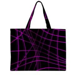 Purple And Black Warped Lines Medium Zipper Tote Bag by Valentinaart