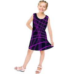 Purple and black warped lines Kids  Tunic Dress by Valentinaart