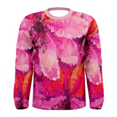 Geometric Magenta Garden Men s Long Sleeve Tee