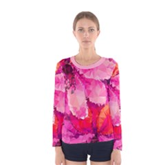 Geometric Magenta Garden Women s Long Sleeve Tee