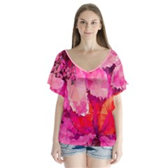 Geometric Magenta Garden V-Neck Flutter Sleeve Top