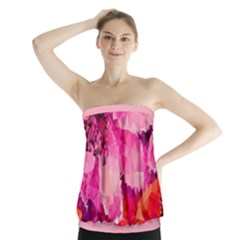 Geometric Magenta Garden Strapless Top