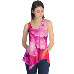 Geometric Magenta Garden Sleeveless Tunic