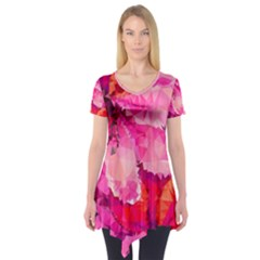Geometric Magenta Garden Short Sleeve Tunic