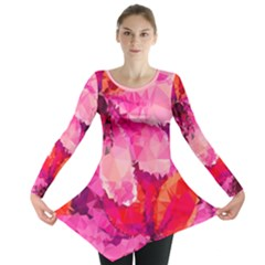Geometric Magenta Garden Long Sleeve Tunic