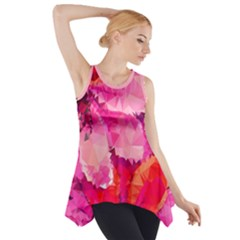 Geometric Magenta Garden Side Drop Tank Tunic