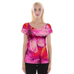 Geometric Magenta Garden Women s Cap Sleeve Top