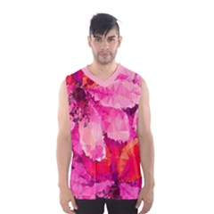 Geometric Magenta Garden Men s Basketball Tank Top