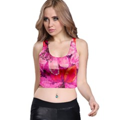 Geometric Magenta Garden Racer Back Crop Top