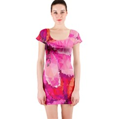 Geometric Magenta Garden Short Sleeve Bodycon Dress