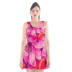 Geometric Magenta Garden Scoop Neck Skater Dress by DanaeStudio