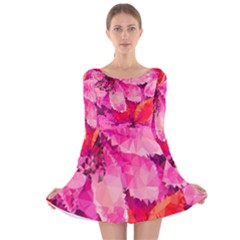 Geometric Magenta Garden Long Sleeve Velvet Skater Dress