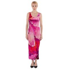 Geometric Magenta Garden Fitted Maxi Dress