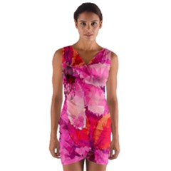 Geometric Magenta Garden Wrap Front Bodycon Dress