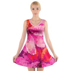 Geometric Magenta Garden V-Neck Sleeveless Dress