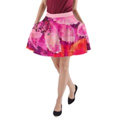 Geometric Magenta Garden A Line Pocket Skirt by DanaeStudio