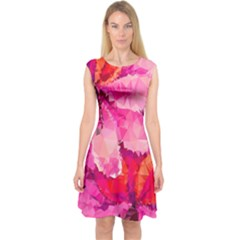 Geometric Magenta Garden Capsleeve Midi Dress