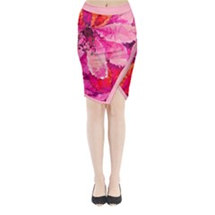 Geometric Magenta Garden Midi Wrap Pencil Skirt