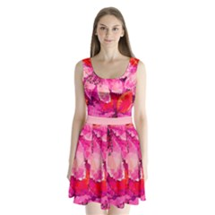 Geometric Magenta Garden Split Back Mini Dress  by DanaeStudio
