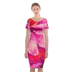 Geometric Magenta Garden Classic Short Sleeve Midi Dress by DanaeStudio