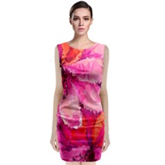 Geometric Magenta Garden Classic Sleeveless Midi Dress